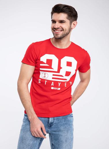 DeFacto Yazı Baskılı Slim Fit Kısa Kollu T-shirt Kırmızı